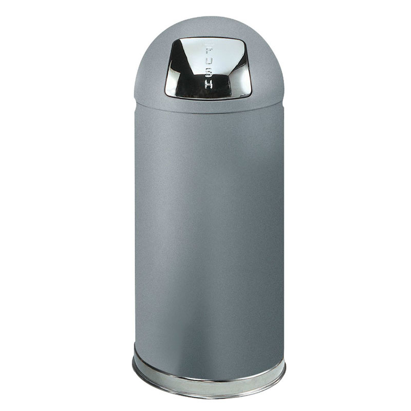 Rubbermaid FGR1536SMPL Waste Receptacle 15 gal Round Top Plastic Liner Silver Metallic Restaurant Supply