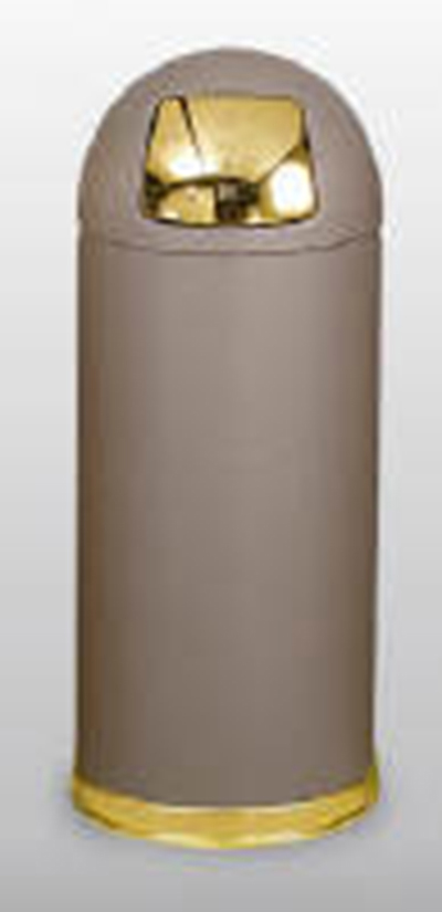 Rubbermaid FGR1536SCGRPL 15-gal Round Crowne Waste Receptacle - Plastic Liner, Brown/Chrome