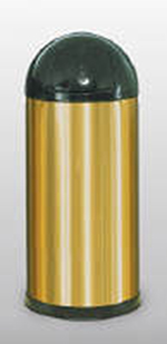 Rubbermaid FGR1536SBSGL 15-gal Round Metallic Waste Receptacle - Galvanized Liner, Brass Stainless