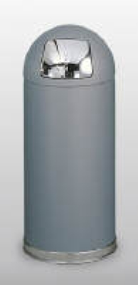 Rubbermaid FGR1536SCGRGL 15-gal Round Crowne Waste Receptacle - Galvanized Liner, Gray/Chrome