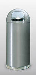 Rubbermaid FGR1536SMGL 15-gal Round Waste Receptacle - Galvanized Liner, Silver Metallic