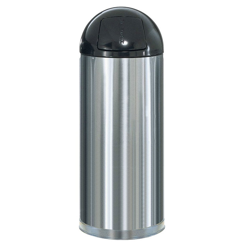 Rubbermaid FGR1536SSSGL 15-gal Round Metallic Waste Receptacle - Galvanized Liner, Satin Stainless