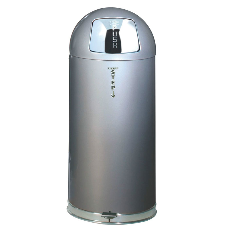 "Rubbermaid FGR1536STEPLSM 15-gal Round Metal Step Trash Can, 15"" dia. x 36""H, Silver"