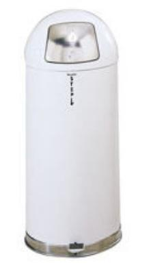 Rubbermaid FGR1536STEGLWH 15-gal Round Stepmaster Waste Receptacle - Galvanized Liner, White