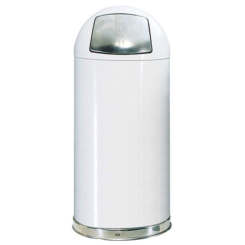 Rubbermaid FGR1842EGLWH 21-gal Round Waste Receptacle - Galvanized Liner, White