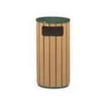 Rubbermaid FGR2350PLEGN 12-gal Regent 50 Waste Receptacle - Flat Top, Galvanized Liner, Cedar/Green