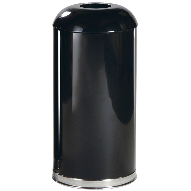 Rubbermaid FGR32EGLBK 15-gal Indoor/Outdoor Decorative Trash Can - Metal, Black