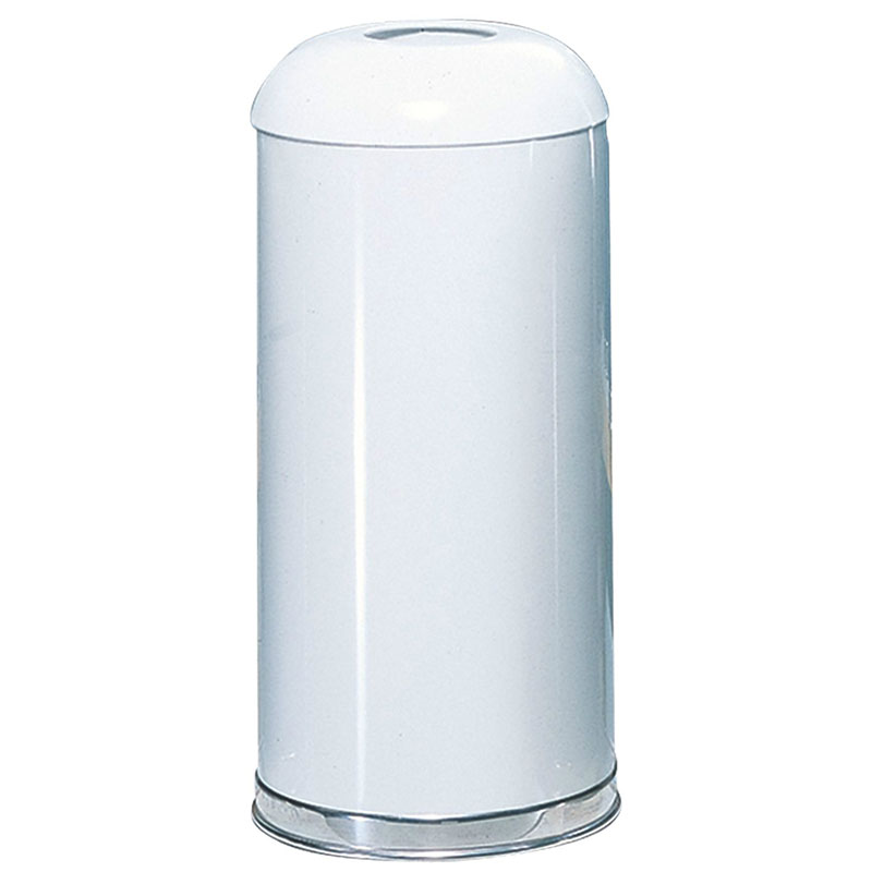 Rubbermaid FGR32EGLWH 15-gal Waste Receptacle - Round Top, Galvanized Liner, White