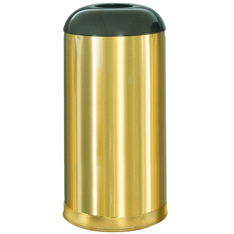 Rubbermaid FGR32SBSGL 15-gal Indoor/Outdoor Decorative Trash Can - Metal, Satin Brass
