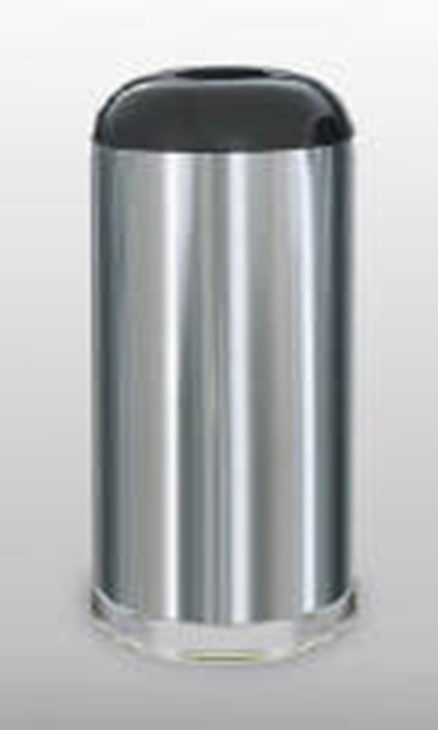 Rubbermaid FGR32SSSGL 15-gal Waste Receptacle - Open Top, Galvanized Liner, Satin Stainless