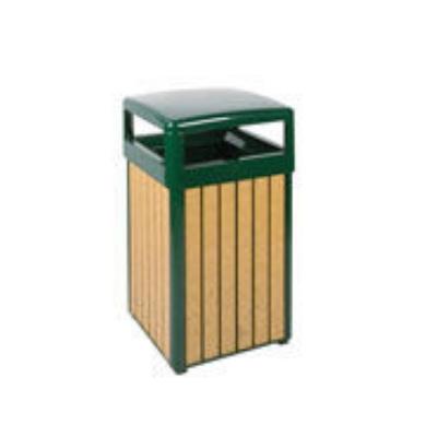 Rubbermaid FGR34HT50PLEGN 29-gal Regent 50 Waste Receptacle - Open Dome Top, Plastic Liner, Cedar/Green