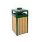 Rubbermaid FGR34HTWU50PLEGN 29-gal Regent 50 Waste Receptacle - Hinged Top, Plastic Liner, Cedar/Green