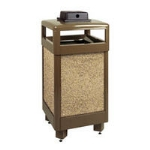 Rubbermaid FGR36HTWU6000PL 29-gal Aspen Waste Receptacle - Hinged Top, Glacier Gray/Bronze