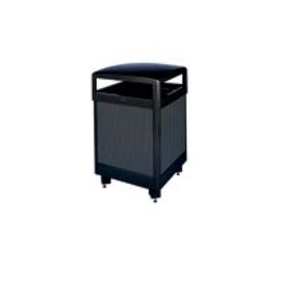 Rubbermaid FGR38HTSBKPL 38-gal Aspen Waste Receptacle - Hinged Top, Plastic Liner, Black