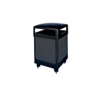 Rubbermaid FGR38HTWUSBKPL 38-gal Aspen Ash/Trash Receptacle - Hinged Top, Plastic Liner, Black