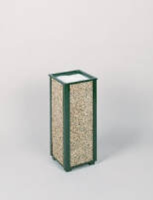 """Rubbermaid FGR40202 10"""" Square Aspen Urn - Desert Brown Stone/Green"""