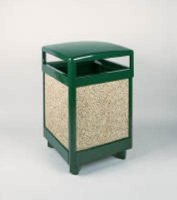 Rubbermaid FGR48HT202PL 48-gal Aspen Waste Receptacle - Hinged Top, Plastic Liner, Desert Brown/Green