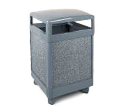 Rubbermaid FGR48HT2000PL 48-gal Aspen Waste Receptacle - Hinged Top, Plastic Liner, Dove Gray/Gray