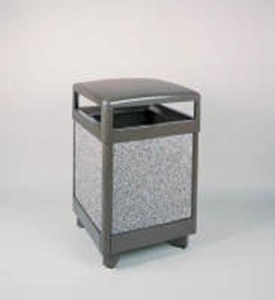 Rubbermaid FGR48HT6000PL 48-gal Aspen Waste Receptacle - Hinged Top, Plastic Liner, Glacier Gray/Bronze