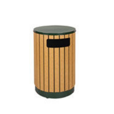 Rubbermaid FGR5650PLEGN 40-gal Regent 50 Waste Receptacle - Flat Top, Plastic Liner, Cedar/Empire Green