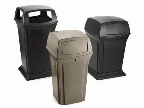 Rubbermaid FG917388BLA 45-gal Ranger Container - Dome Top, 4 Access Openings, Black