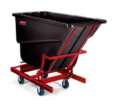 "Rubbermaid FG106943 BLA Self-Dumping Hopper - 2 cu yd, 1000-lb Capacity, (4) 6"" Castors, Black"