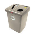 Rubbermaid 1792371 46-gal Glutton Recycling Station - Hinged Lid, Multi-Lingual Label, Beige