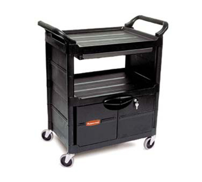 "Rubbermaid FG345700BLA 3-Shelf Utility Cart - 33-5/8x18-5/8x37-3/4"" Plastic/Aluminum, Black"