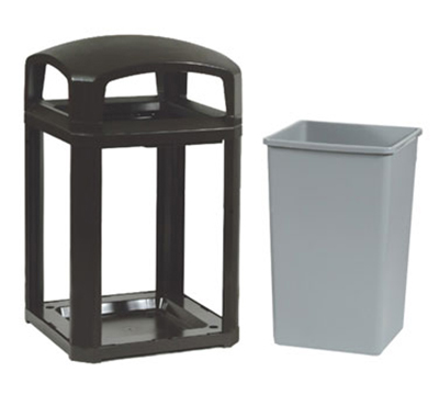 "Rubbermaid FG397000 BLA 35-gal Landmark Series Container - 26x26x40"" Dome Top Frame, Black"