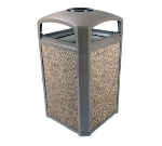Rubbermaid FG397501DWOOD 50-gal Landmark Series Container - Dome Top Frame, Ashtray, Drift Wood