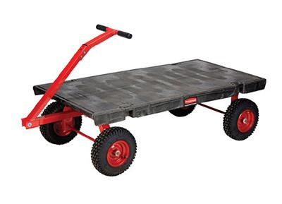 "Rubbermaid FG447900BLA 5th Wheel Wagon Truck - 24x48"" 2000-lb Capacity, 12"" Castors/TPR Wheels, Black"