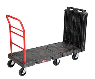 """Rubbermaid FG449600BLA Convertible Platform Truck - 1000-lb Capacity, 6"""" TPR Castors, Black"""