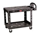 "Rubbermaid FG452500 BLA Flat Shelf Utility Cart - 2-Shelf, 500-lb Capacity, 5"" TPR, Black"