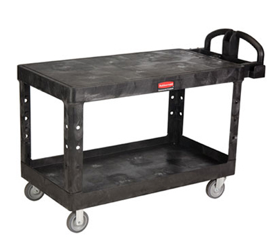 "Rubbermaid FG454500BLA Heavy Duty Flat Shelf Cart - 700-lb Capacity, 5"" TPR Castors, Black"