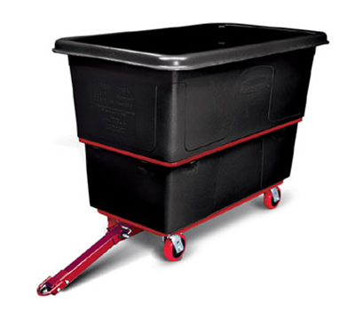 "Rubbermaid FG472741 BLA Towable Utility Truck - 27 cu ft, 1200-lb Capacity, 5"" Castors, Black"