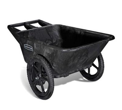 "Rubbermaid FG564261 BLA Big Wheel Cart - 7-1/2 cu ft Capacity, 28-1/4x58x32-3/4"" Black"