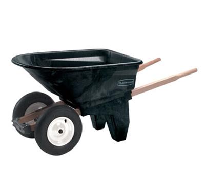 Rubbermaid FG565961 BLA Contractor Wheelbarrow - 6-1/2 cu ft Capacity, 2-Wheels, Black