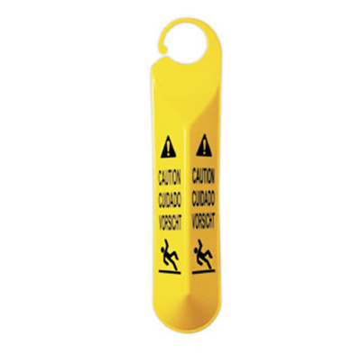 Rubbermaid FG611000 YEL Multi-Lingual Hanging Caution Sign - Falling Person, Yellow