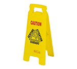 Rubbermaid FG611278 YEL Multi-Lingual Floor Closed Sign - 2-Sided, Yellow