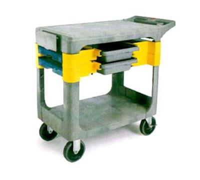 """Rubbermaid FG618000 BLA Trades Cart - 2-Shelf, 330-lb Capacity, 5"""" Castors, Black"""