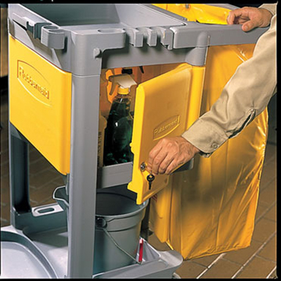 Rubbermaid FG618100 YEL Locking Cabinet - Janitor Cart