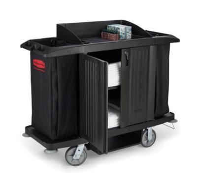 Rubbermaid FG619100 Housekeeping Cart with Doors & Vinyl Bag Black Restaurant Supply