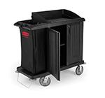 Rubbermaid FG619200 BLA Compact Housekeeping Cart - Doors, Black