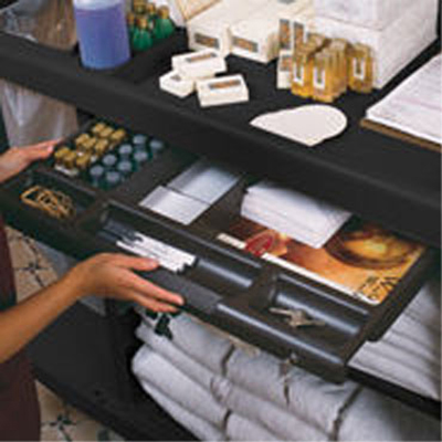 Rubbermaid FG619900 BLA Locking Utility Drawer - Traditional Housekeeping Cart