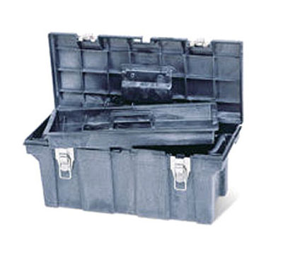 "Rubbermaid FG780200 BLA Tool Box - Removable Trays, 26x11-1/2x11-1/8"" Black"