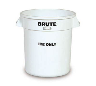 "Rubbermaid FG9F8600 WHT 10-gal BRUTE ""Ice Only"" Container - White"