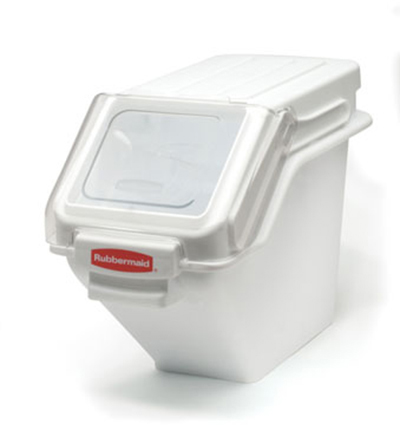 "Rubbermaid FG9G5700 WHT ProSave Safety Storage Bin with Scoop - 100-cup Capacity, 23.5x11.5x16.8"" White"