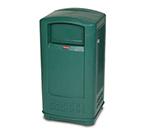 Rubbermaid FG9P9000DGRN 35-gal Plaza Jr Trash Container - Dark Green