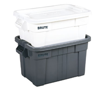 Rubbermaid FG9S3000 WHT 14-gal BRUTE Tote with Lid - White