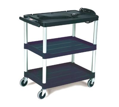"Rubbermaid FG9T2800 BLA 3-Shelf Audio-Visual Cart - 150-lb Capacity, Power Strip, 3"" Castors, Black"